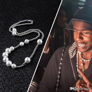 New Fashion Mens Pearl Necklace Hip Hop Stainless Steel Ball Beaded Necklace Jewelry Clavicle Chain Necklace