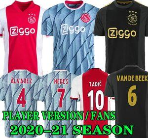 Ajax Home Rouge Blanc Soccer Jerseys 20 21 Hommes + Enfants Tadic de Jong Dolberg Ziyec 2020 2021 Ajax Thiny Third Football Shirt Version version