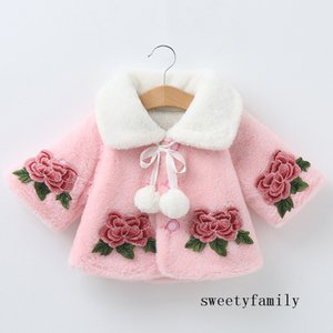 Cape Waistcoat Thicken Simple Pink White Cape Coat Girl Poncho Outwear Flower Embroidery Shawl Cute Wool Coat