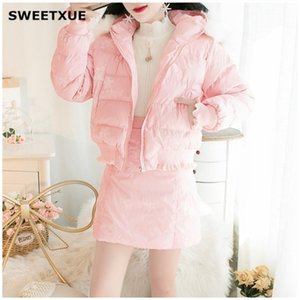 SWEETXUE 2020 Women Autumn Winter New Sweet Beauty Set Lace Embroidered Hooded Fur Collar Mini Skirt Cotton Suit Casual Ladies