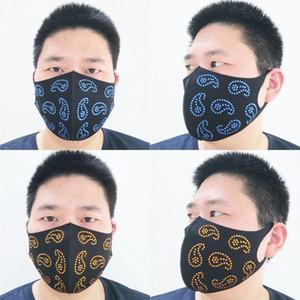 Paisley imprimé masque mode 3D lavable réutilisable Masque de protection Masques strass antipoussière visage bling CYZ2611 400pcs