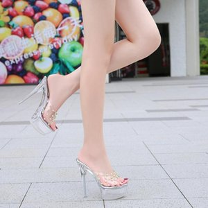 Кристалл тапочки лета женщин нового способа сексуальный Водонепроницаемая платформа Wear Прозрачный рыбы рот заклепки высокого Heel14CM Дамы Sandal