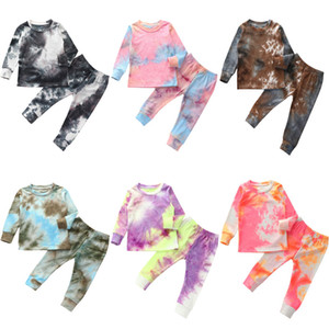 2020 Children's Wear Rib Knit Tie Dye Pajamas Set Long Sleeve T-shirt + Pants Printed Home Wear Warm Clothes Autumn Wear