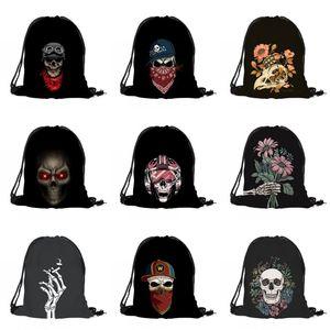 Imprimir cordão Halloween Bag Crânio 3D Digital Bouquet bolso mochila preta Halloween Skeleton Impresso Bag DHL Shipping