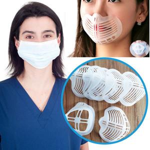 Adultos niños Blanco Soporte Proteger la máscara de lápiz labial fresco de soporte más espacio para respirar cómodo lavable reutilizable de silicona soporte HH9-3246