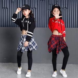 Детские спортивные костюмы Хлопок Одежда Корейский моды хип-хоп Уличная Подростковые Девушки Толстовки Толстовка + плед юбка-брюки