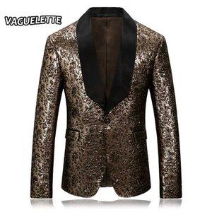 Golden Mens Floral Blazer Shawl Collar Printed Mens Stage Wear Nightclub Wedding Stylish Embroidered Blazer M-4XL