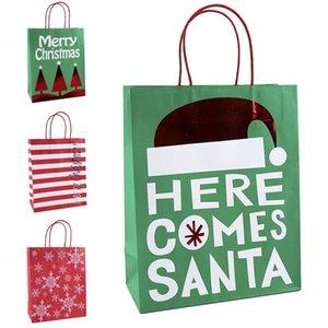 Bolsas de regalo de Navidad Aquí viene Papá Kraft Bolsa de papel con asa Feliz Navidad Regalo bolsa de almacenamiento DHF1163