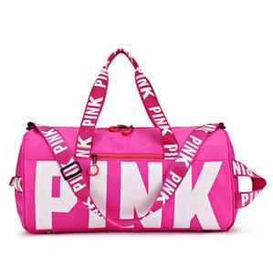 Personalizado Waterproof Gym Bag Duffel Sports saco de ginásio ao ar livre-de-rosa do curso Mulheres Handbag grande capacidade de ombro saco de armazenamento