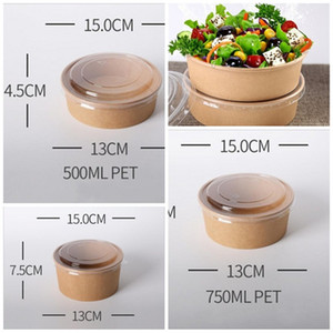 Salad Bowl With Lid Food Storage Case Disposable Packing Boxes Lunch Kraft Paper Take Out Pack Fruits Pasta Vegetables Snacks 0 48jf F2
