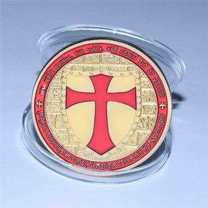 Knights Templar Cross Coin Soldiers of Christ Token Medallion Freemason Red Color Masonic Token Souvenir Coins
