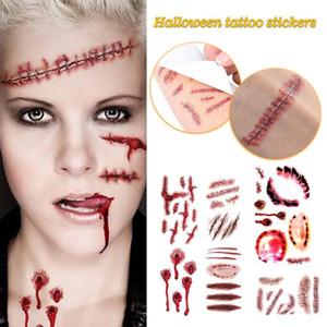 New Halloween Scar Tattoo Autocollants super Sortes Tous réalistes autocollants Wound Halloween Décorations Faux Plaies Horreur autocollant