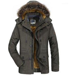 Мужская одежда Casual Утолщенного капюшон Мужских Windbreak Winter Карман вниз Плюс Размер пальто Среднего Длинный мужской сплошного цвета Верхней одежда Лоскутный