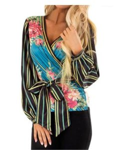 Striped Impresso Puff luva profunda V Neck Tops Roupa feminina outono Womens deisgner Blusas Sexy Floral