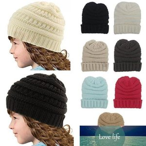 Neutral Girl Boy Folding Casual Tag Beanies Winter Knit Wool Kids Hat Pure Color Hip Hop Skullies Hat