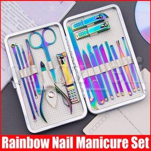 18pcs / set do arco-íris jogo de manicure com prego caixa de aço inoxidável Clipper cortador Trimmer escolher ouvido Kit Pedicure Toe Nail Ferramenta Earpick Set
