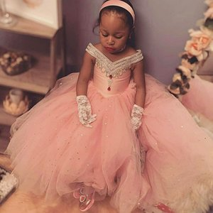 Pink Crystals Beaded Flower Girl Dresses With V Neck Balll Gown Sequins Tulle Little Girl First Communion Dress Pageant Gowns