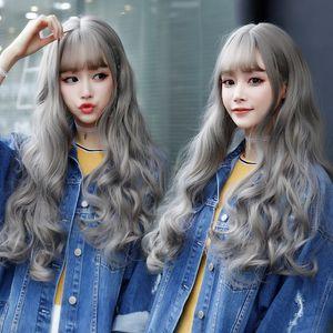 2020 Moda Kadın Derin Dalga Uzun Saç Keten Gri Peruk Isıya Dayanıklı Saç Peruk ile Hava Bangs