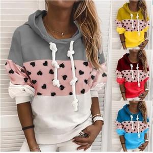 Damas remiendo encapuchadora sudaderas tendencia de la moda suéter de manga larga Tops Mujer Primavera diseñador nuevo estilo floja ocasional sudaderas