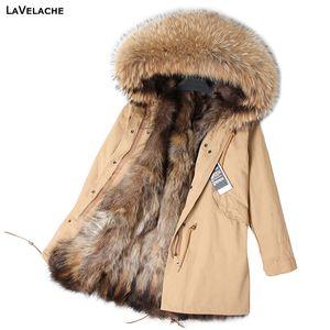 LaVelache 2020 롱 파카 리얼 모피 코트 겨울 자켓 여성 자연 진짜 여우 모피 코트 자켓 스트리트 캐주얼 특대 새로운 CX200817