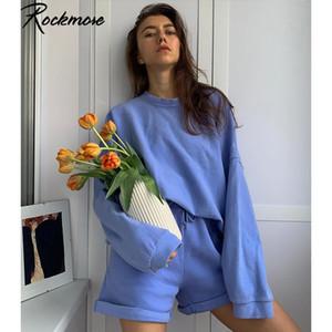 Rockmore Baggy Deux pièces Ensembles Sweat à manches longues et Shorts Femmes Survêtements molletonnés Y2K solides Ensemble 2 pièces Outfit automne T200808