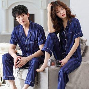 pyjamas Couple été vêtements de soie glacée ruban ruban Accueil à manches courtes Gilet revers maison soie usure simulée pour hommes et femmes rayées su