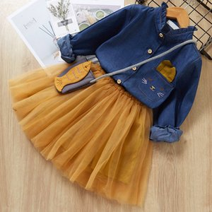 3 PCS Spring New Toddler Girls Ropa Moda Niños Bordado Camisa de mezclilla + Vestido + Bolsa Set Traje Casual Ropa infantil