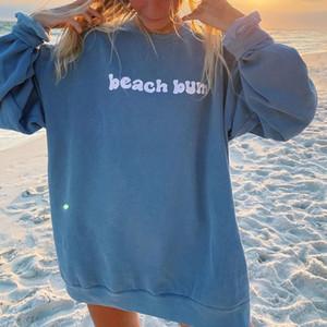 Azul impresión de la letra de la vendimia de gran tamaño camiseta de manga larga de las Pullover Casual Streetwear niñas otoño nuevo estilo Inglaterra EE.UU.