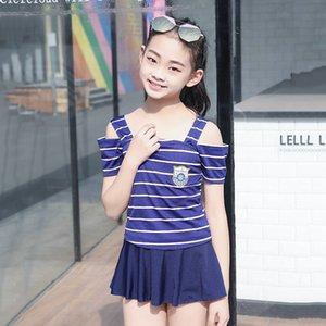 2019 새로운 아이들의 소녀 한 조각 드레스 해군 스타일의 XH8055 치마 2019 새로운 아이들의 소녀 한 조각 복장 수영복은 해군 스타일의 수영 스커트