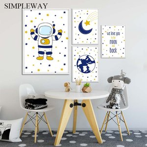 Astronaut Space Nursery Canvas Child Poster Cartoon Simple Wall Art Print Painting Nordic Kid Baby Bedroom Decoration Picture
