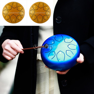 2pcs 6 Inch Alloy Steel Tongue Drum C Key 8 Notes Hand Drum Golden
