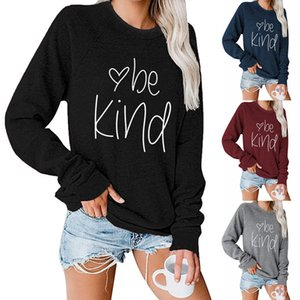 Be Kind Sweatshirt Women Letter Shirt Inspirational Top Cotton Hooded Office Long Sleeve Pullover Hoodie