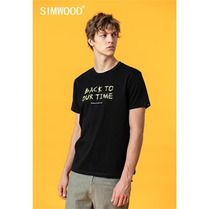 SIMWOOD 2020 summer new letter print 100% cotton t-shirt men fashion tops plus size high quality brand clothing SJ170553 0924