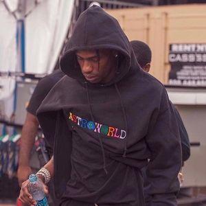 AstroWorld rapero Hip Hop sudaderas con capucha Sudaderas Casual Male High Street Impreso Pullover Negro Tamaño S-XL