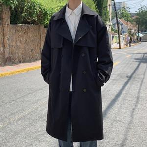 Maschio Donne Streetwear Vintage Fashion allentato Trench Coat giacca lunga Capispalla Doppio Petto Casual Thin Trench