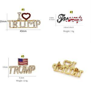 Trump Brooch Pins Shining Rhinestone Letter Glitter Brooches Women Fashion Crystal Heart Pins Party Gift AAB1964