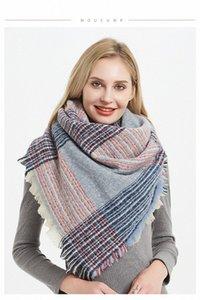 Мягких Женщины Plaid шарф Мода зима теплая полиэстер Двухсторонней цветной квадрат шарф шарфы Женской Классический Lattice Шаль Одеяло W zhZb #