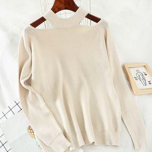 Heliar 2020 Primavera spalle maglione per le donne Streetwear Moda a lungo solido casuale Knit pullover Femme Donne Maglione