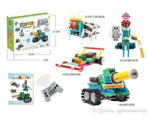 24pcs RC Robot Toys 4 In 1 237Pcs DIY Assembled Building Blocks Tank Warrior Race Car Remote Control Toy Children STEM Educational Toy