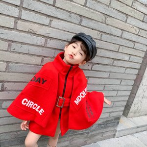 INS 4-12Y girls cloak fashion kids coats woolen kids poncho Girls Cape kids cloak teenage girls clothing girl coat retail B2157