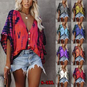8 colori 2020 nuovo chiffon delle donne autunno camicette con scollo a V manica pipistrello tie-dye camicia di stampa a cinque punti casuale maglietta del manicotto
