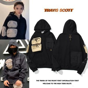 Nueva 20ss Travis Scott TS de marca compartida Cactus Jack para hombres y mujeres de cactus bordado micro etiqueta multi bolsillo del suéter sudaderas de diseño para hombre