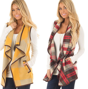 Women's Winter Buffalo Plaid Vest Jacket Cardigan Pocket Vest Coat Irregular Check Sleeveless Outwear Waistcoat KKA8045