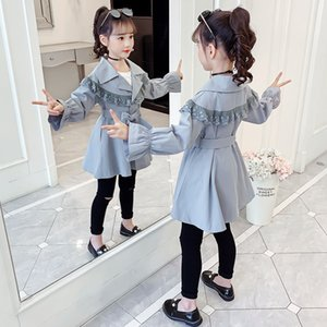 Cutyome Fashion Fall 2020 Children Casual Trench Coat Ruffle Lace Teenage Girls Vintage Long Jacket Kids Outerwear Overcoats 12Y