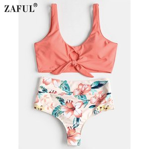 wholesale Sexy Swimsuit High Rise Knotted Floral Scrunch Bikini Set Swimwear Scoop Neck Padded Bathing Suit Beach Suit For Women