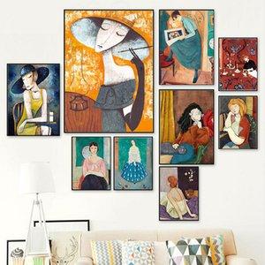 Arte abstracto colorido pared lona de la muchacha Pintura del cartel de la flor del pelo nórdica Cuadros cuadros de la pared para la sala de estar de la vendimia sin marco