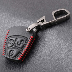 Car Key Keychain for Mercedes Benz B C E ML S CLK CL Classe 3 Buttons Fob with Key Ring Leather Remote Key Cover Case car accessories