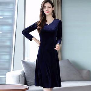 Blackday caliente de la venta al por mayor de Otoño Invierno Nuevo vestido elegante color sólido del V-cuello de manga larga vestido de la oficina de señora temperamento vestido Nueva