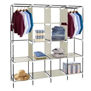 Multifunctional Modern Wardrobe Easy to Install Bedroom Storage Rack Clothes Closet Portable Wardrobe Clothes Storage Rack 12 Shelves