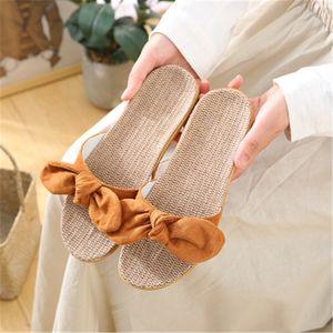 FAYUEKEY Women Butterfly-knot Slippers Soft Linen Ladies Casual Slides Flat Sandals New Summer Indoor Shoes Non-slip Flip Flops